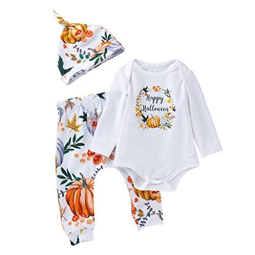 Finanoco Halloween-Kostüme für Mädchen Jungen Baby, Halloween-Print, Strampelanzug, Hose, Hut, Outfits, Baumwollmischung, weiß, 80