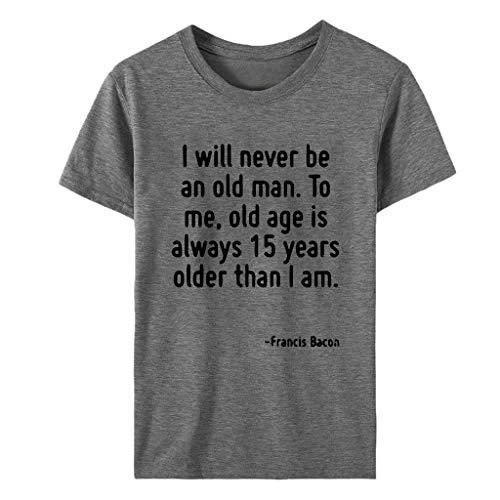 EUZeo Damen Kurzarm T-Shirts Komisch Briefe gedruckt Tops Tee Frauen Rundausschnitt Hemden Kurzärmlig Basic Shirts Pulli Oberteil Streetwear Damenbekeildung