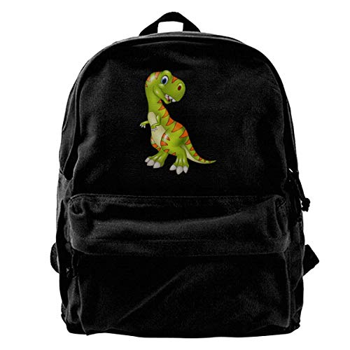 Yuanmeiju School Travel Backpack, Classic Canvas Backpack Green and Yellow Dinosaur Unique Print Style,Fits 14 Inch Laptop,Durable,Black