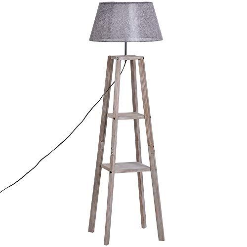 HOMCOM Stehlampe mit Regal, Skandinavische Standleuchte, Lampe, Leinen, Kiefernholz, Natur, Grau, 45 x 45 x 148 cm