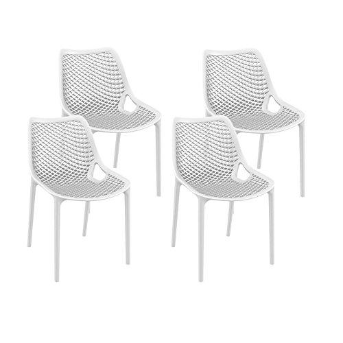 resol set de 4 sillas de diseño Grid para interior, exterior, jardín - color blanco