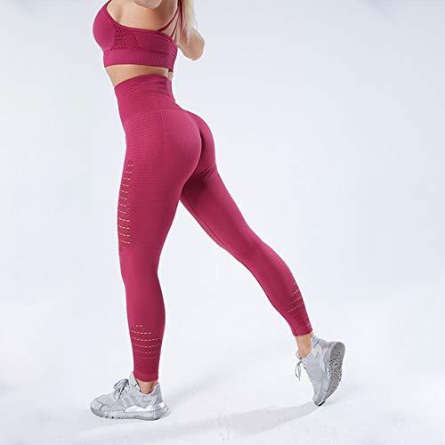 YEESEU Los Pantalones de Yoga Deporte de Sportkleding Elastische Aptitud Polainas Gimnasia Yoga Broek Naadloze Panza Controle Compressie Panty Broek (Color : Red, Size : XL)