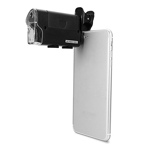 Cellphone Magnifier, Universal 60X-100X Zoom Microscope for Mobile Phone, Portable Clip-on Micro Lens Microscope Jewelry Magnifier Jewelry Loupe Magnifier Micro Lens for Universal Mobile Phones