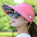 Mdsfexixianxinqu Sombrero el Sol Pesca Protector Solar Pescador Sombrero de Playa Anti-Ultravioleta Sombrero Negro Casual Damas Sombrero de Verano Cola de Caballo Sombrero de ala Ancha Rojo sandía