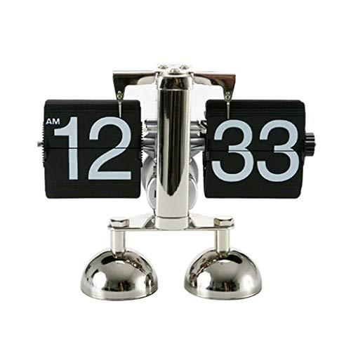 NS Rétro Horloge Automatique Flip Clock, Design Vintage Elégant pour Bureau Salle Séjour sur Pied Blanc/Noir 19.5 * 17cm (Couleur : Noir)