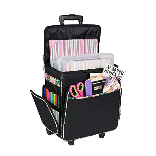 Everything Mary Black & Floral Rolling Scrapbook Storage Tote - Scrapbooking Storage Case for Rings, Paper, Binder… |