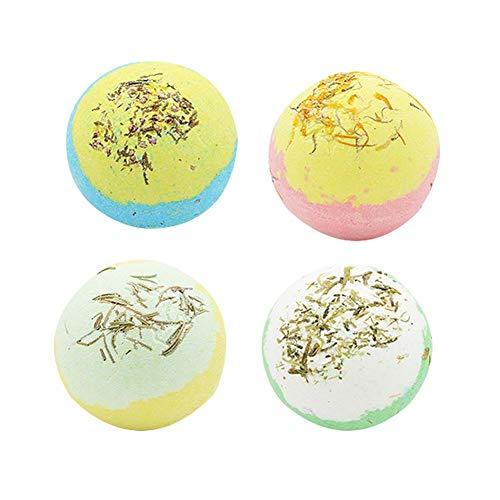 Sue Supply 4pcs Boule de sel de Bain avec Fleur séchée Multiples Bulles Huile Essentielle Boule de Bain avec boîte