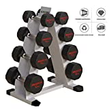 Twelve-sided Plastic Dumbbell Rack Fixed Dumbbell Rack Steel Dumbbell Set For Home Gym 12-side Golden Ratio Split Friction Welding Process Into One Body (Color : Silver, Size : 48 * 36 * 79cm)