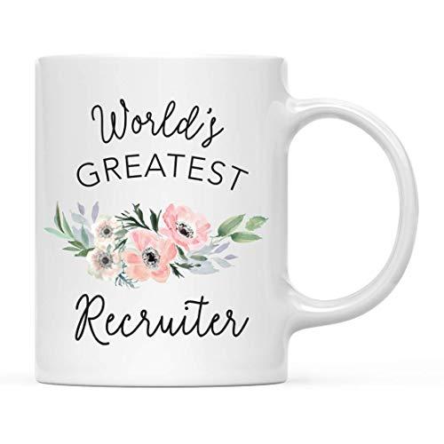 Taza de café de regalo para mujer, taza de reclutador más grande del mundo, flor floral de anémona rosa bohemia, paquete de 1, taza para beber, cumpleaños, promoción navideña, regalo de graduación, id