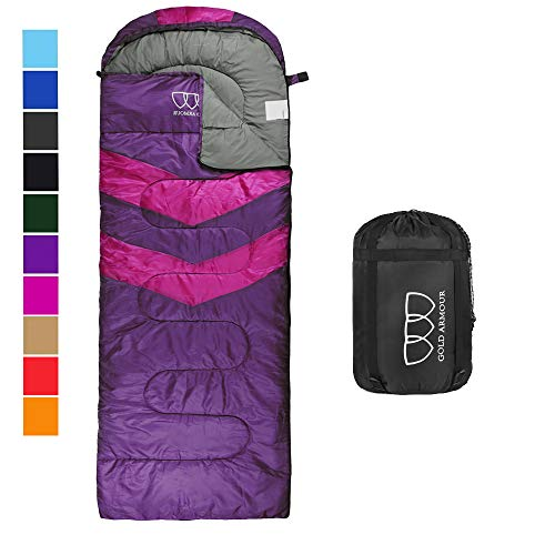 Sleeping Bag for Indoor and Outdoor Use - Great for Kids, Boys, Girls, Teens, Adults. Ultralight and Compact Bags for Sleepover, Backpacking, Camping (Purple/Fuchsia Left Zipper)