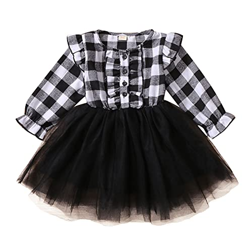 Toddler Princess Dress Baby Girls Long Sleeve Plaid Printed Ruffles Tulle Lovely Mini 6 Months-4 Years Dresses White