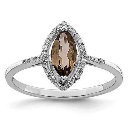 Ryan Jonathan Fine Jewelry Anillo de cuarzo y diamante de plata de ley, talla O