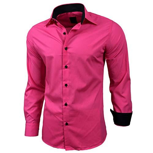 Baxboy Herren-Hemd Slim-Fit Bügelleicht Für Anzug, Business, Hochzeit, Freizeit - Langarm Hemden für Männer Langarmhemd R-44, Größe:L, Farbe:Pink