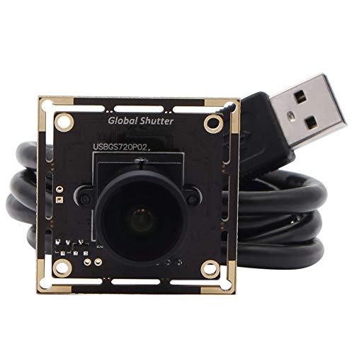 ELP Webcam 720P 60 FPS Weitwinkel 170 Grad Objektiv Global Shutter AR0144 Sensor Schwarzweißbild Mini USB Kamera für Windows/Mac/Linux/Raspberry Pi 720P Global Verschluss kameramodul USBGS720P02-L170