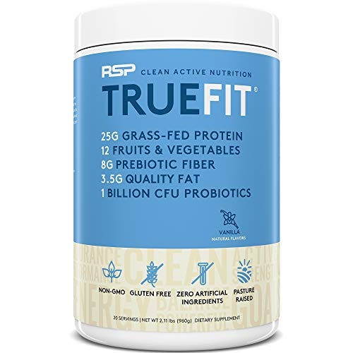RSP TrueFit - Grass Fed Lean Meal Replacement Protein Shake, All Natural Whey Protein Powder with Fiber & Probiotics, Non-GMO, Gluten-Free & No Artificial Sweeteners, 2LB Vanilla (Packaging May Vary)
