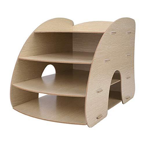 Titular de archivo de escritorio Organizador de la bandeja de letras de papel, escritorio de madera Organizador de almacenamiento de almacenamiento de la oficina del estante del estante del estante de