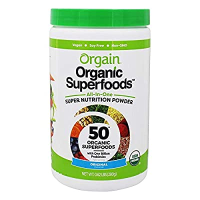 Orgain Organic Green Superfoods Powder, Original - Antioxidants, 1 Billion Probiotics, Vegan, Dairy Free, Gluten Free, Kosher