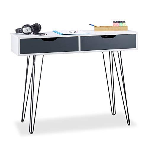 Relaxdays, 76 x 100 x 40 cm, Blanco Escritorio con cajones, Diseño Moderno, Juvenil, tableros conglomerado DM, Hierro
