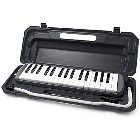 鍵盤ハーモニカ (ブラック) 32鍵 メロディー ピアノ 多功能 立奏唄口 卓奏唄口 軽量 楽譜シール付き