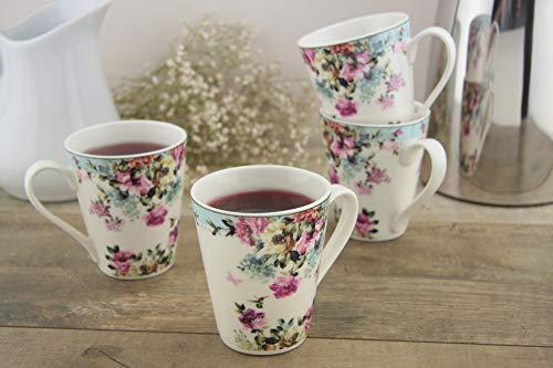 EHC Kaffeetassen aus feinem Porzellan, Vintage-Blumenmuster, in Geschenkverpackung, spülmaschinen- und mikrowellengeeignet, 4 Stück
