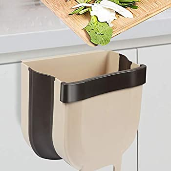 Braoses Small Hanging Trash Can for Kitchen Cabinet Door Collapsible Mini Foldable Waste Bins Wall Mounted Trash for Cabinet Car Bedroom & Bathroom Garbage Can - 1.7 Gallon