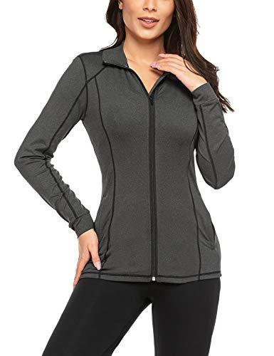 ADOME Damen Laufjacke Sport Jacke Langarm Trainingsjacke voll Reißverschluss Laufshirt Fitness Sweetshirt Seitentaschen