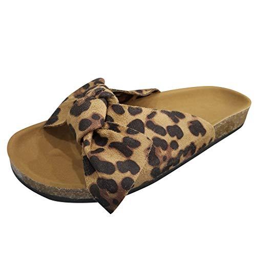 Pantofole da donna estive piatte con fiocco, comode, in sughero, larghe, Marrone (Marrone), 38.5 EU