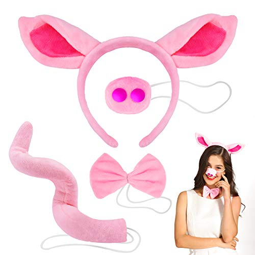 Pig Costume Set Included Pig Ears Headband, Faux Pig Nose, Bow Tie and Pig Long Curled up Tail for Halloween Cosplay Costume or Party Decoration - Pink