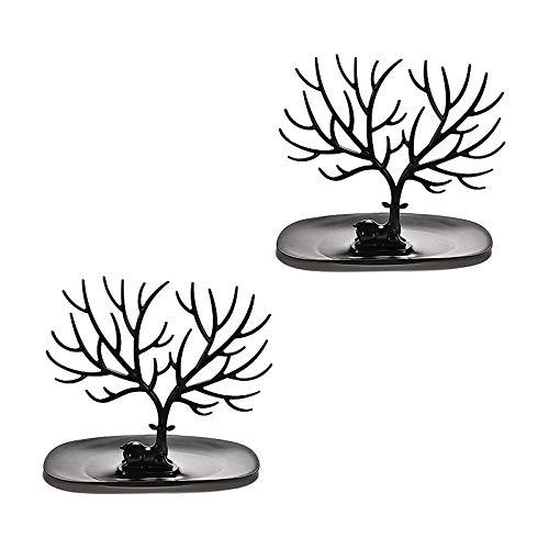 Creative Forest Antlers Caja de almacenamiento joyas en forma árbol Soporte para pendientes Decoración creativa sala estar, se utiliza colgar o exhibir joyas, pulseras, collares, (2 piezas),Negro