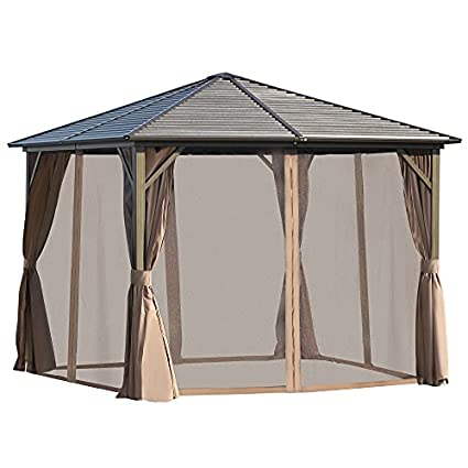 Outsunny 10' x 10' Aluminum Frame Hardtop Gazebo with Mosquito Netting and Curtains- Brown/Black