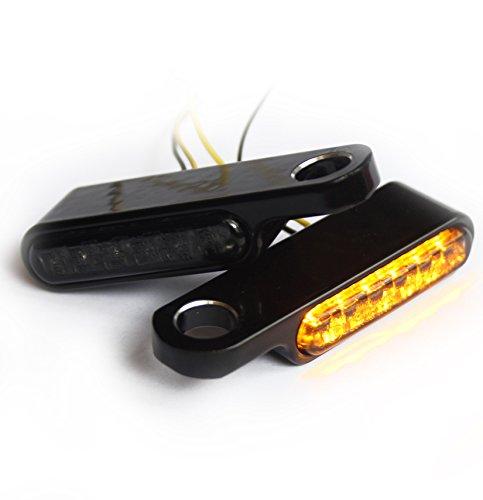Iron Optics Motorrad LED Blinker + Blinkerhalter für Lenkerarmaturen, Farbe:uni/schwarz