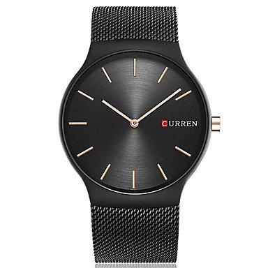 XKC-watches Herrenuhren, Curren Herrn Sportuhr Modeuhr Armbanduhr Einzigartige Kreative Uhr Armbanduhren für Den Alltag Uhr Holz Quartz Edelstahl BandCool Bequem (Farbe : Schwarz)