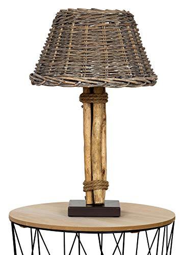 *levandeo Lampe Tischlampe H50cm Holz Holzlampe Weide Unikat Braun Treibholz Leuchte Deko Shabby Chic Vintage Vollweide*