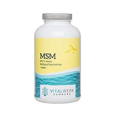 VITALWERK HAMBURG® MSM Kapseln – 365 vegane Kapseln – 99,9% reines Methylsulfonylmethan – Hochdosiert 1.600 mg MSM pro Tag – streng kontrolliert und aus DEUTSCHLAND.