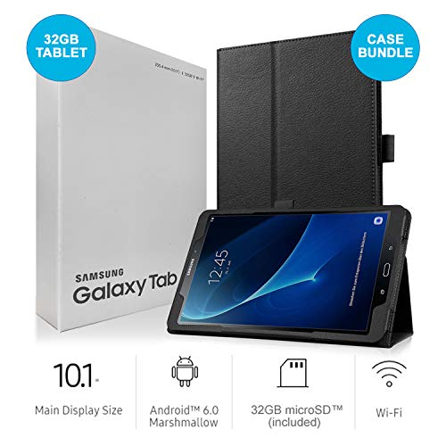 Samsung Galaxy Tab A SM-T580 10.1-Inch Touchscreen 32 GB Tablet (2 GB Ram, Wi-Fi, Android OS, Black) International Version Bundle with Case, Screen Protector, Stylus and 32GB microSD Card