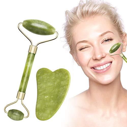 Rodillo de Jade, Rodillo de Piedra De Jade Masajeador Facial