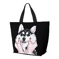 可愛いハスキー 犬 黒白 トートバッグ トートかばん ハンドバッグ 旅行バッグ ビジネスバッグ トラベルバッグ レディースキャンバスバッグ ショッピングバッグ 手提げかばん キャンプアウト メンズ ラージバッグ