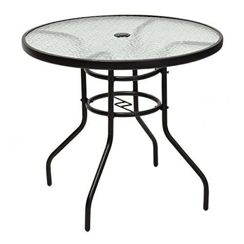 Tangkula 32' Outdoor Patio Table Round Steel Frame Tempered Glass Top Commercial Party Event Furniture Conversation Coffee Table for Backyard Lawn Balcony Pool with Umbrella Hole