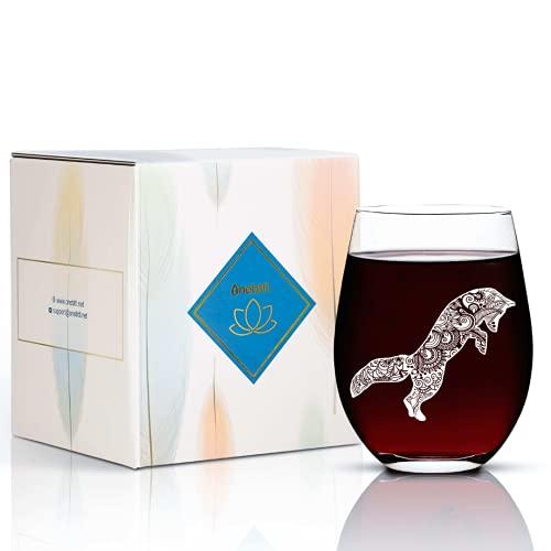 Copa de vino de Fox, 17 onzas sin tallo con zorro, regalo perfecto para amantes de los zorros, madres y mujeres, para Navidad, cumpleaños, Acción de Gracias