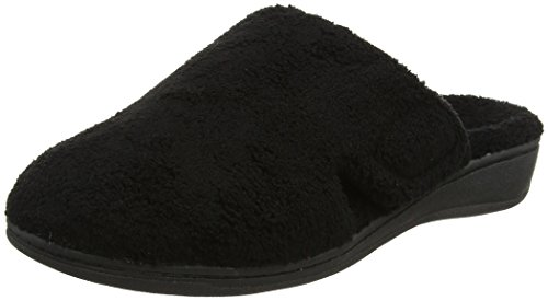 Vionic Women's Gemma Mule Slipper - Comfortable Spa House Slippers That Include Three-Zone Comfort with Orthotic Insole Arch Support, Soft House Shoes for Ladies Black 10 Medium US