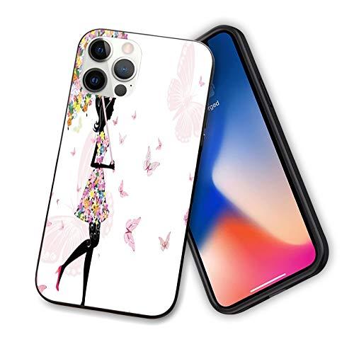 """Coque féminine compatible avec iPhone 12 Series 2020, motif fille avec parapluie floral et robe marchant avec papillons inspiratifs, design fin en TPU souple pour iPhone 12 6,1"""""""
