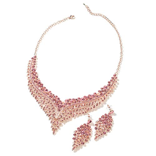 Bridal Crystal Earrings Statement Bib Necklace Jewelry Gift Set for Women 20