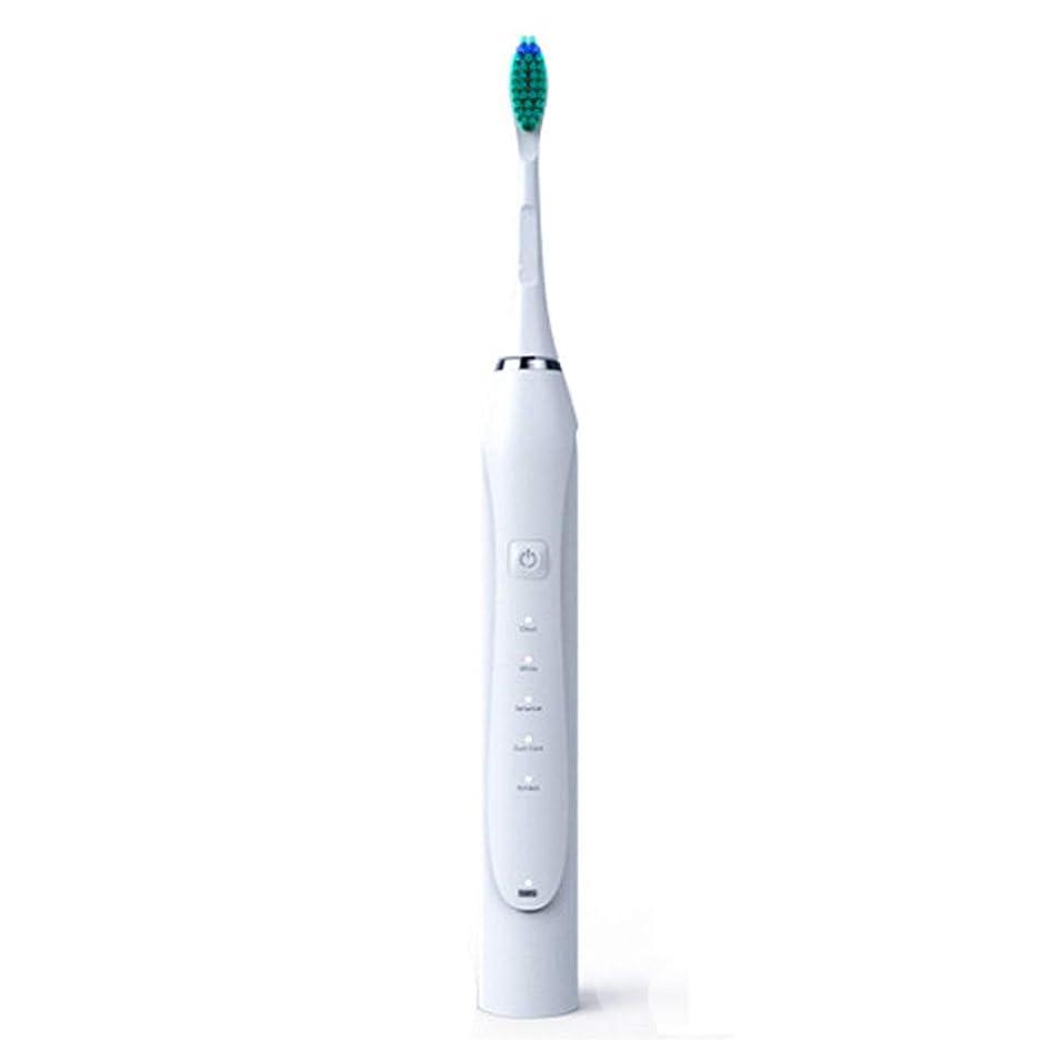 予測子文芸ロッカー電動歯ブラシ、ソニック電動歯ブラシ誘導大人充電式振動ソフトヘア自動USB充電,白,1Pcs