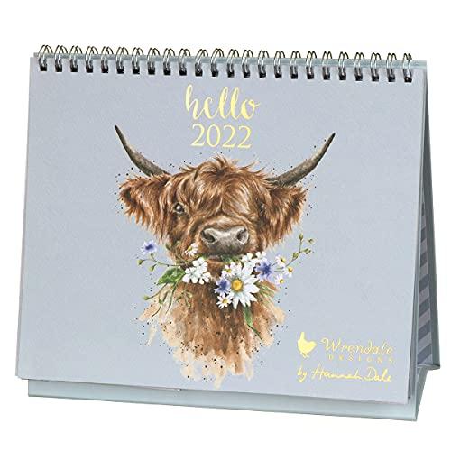 Wrendale Designs Country Set Landscape Desk Calendar 2022 – Highland Cow