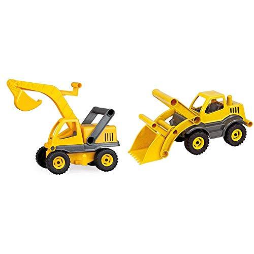 Lena 04211 - EcoActives Bagger, ca. 35 cm, Baustellen Spielfahrzeug für Kinder ab 2 Jahre, robuster Schaufelbagger mit beweglichen Baggeram und Haltegriff & 04212 - EcoActives Schaufellader, ca. 33cm