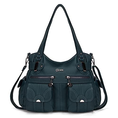 KL928 Tasche Damen Handtasche Umhängetaschen Damenhandtasche Schultertasche Lederhandtasche elegante Taschen hand taschen Henkeltaschen für frauen mit vielen fächern (Hellblau)