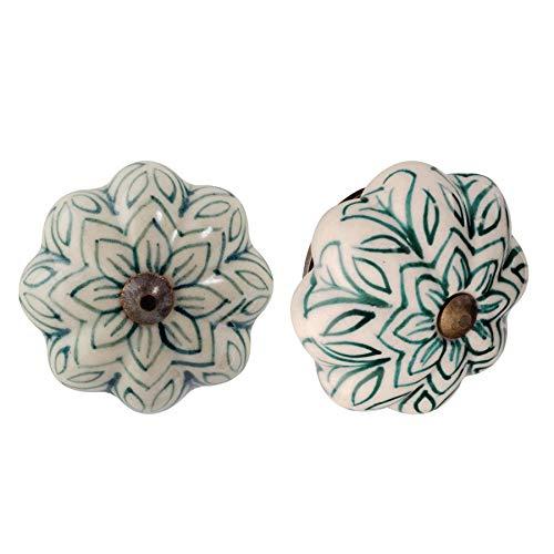 Nicola Spring Pomello per cassetto - in Ceramica con Design Vintage Floreale - Verde Scuro - 6 Pezzi
