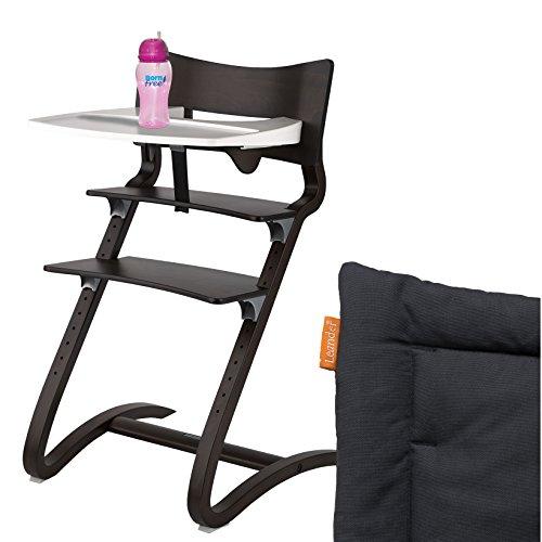Leander Hochstuhl Walnuss Komplettpaket mit Sicherheitsbügel, Tisch, BFree-Trinkbecher und Sitzkissen Coal