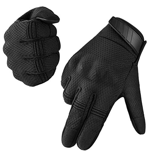 VBIGER Tactical Gloves Full Finger Outdoor Gloves Motorcycle Gloves with Rubber Knuckle, Impact-Resistant and Wear-Proof, Best for Cycling, Hiking, Climbing and Tactical Training, Black