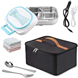 Electric Heating Bento Lunch Box Food Heater 12V 110V Dual Use Car Home Office Portable Meal Lunch Heater Food Warmer with Insulation Bag Cooler Reusable Tote Bag and Stainless Steel Container